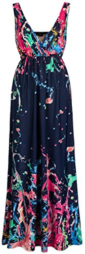 Wantdo Women's Bohemian Beach Dress Maxi Dresses Plus Size(Rose Red US Large)