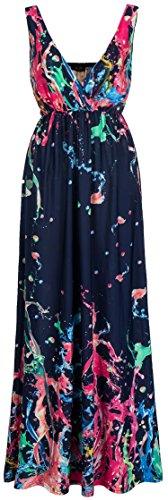Wantdo Women's Bohemian Beach Dress Maxi Dresses Plus Size(Rose Red US Large)