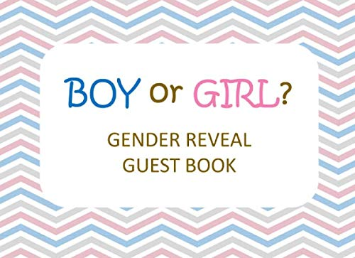 Boy or Girl?: Gender Reveal Guest Book:Sign In Book for Baby Gender Reveal Party - Rose & Blue Diagonal