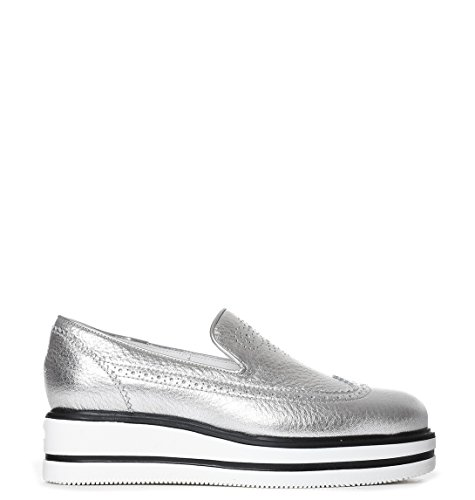 Leather Hogan On HXW3230X780ES9B200 Silver Women's Slip Sneakers 74qZwFA