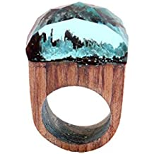 AIMTOPPY 1pc 18mm Handmade Wood Resin Ring with Magnificent Tiny Fantasy Secret Landscape (free, light blue)