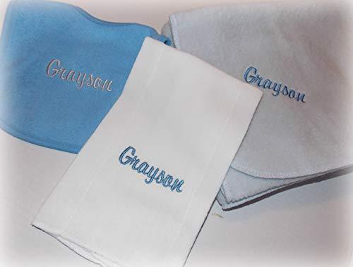 - Personalized baby gray blanket, bib and burp set