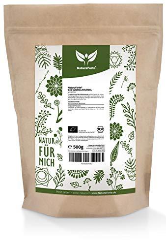 NaturaForte Bio Raiz de regaliz organica 500g - 100% calidad organica, Raiz de regaliz para te seca en envase para conserver su aroma, licorice root, Embotellado en Alemania (DE-ÖKO-003)