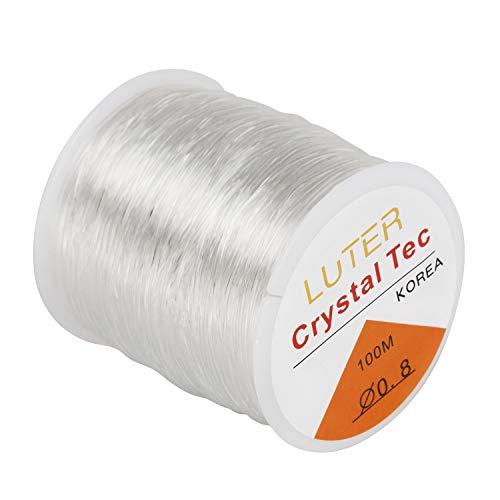 LUTER 0.8mm Clear Bead Cord Crystal Elastic Stretchy Bracelet String for Jewelry Making Necklace Bracelet Beading Thread(328ft)