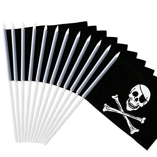 Anley Pirate Stick Flag, Jolly Roger 5x8 inch Handheld Mini Flag with 12