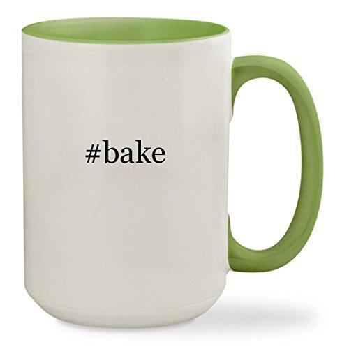 #bake - 15oz Hashtag Colored Inside & Handle Sturdy Ceramic Coffee Cup Mug, Light Green (Honey Dish Stone Set)