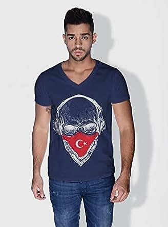 Creo Turkey Skull T-Shirts For Men - L, Blue
