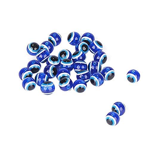 - SUPVOX 200PCS Stripe Resin Beads Round Evil Eye Spacer Beads Bracelets Necklace Jewelry Making 12mm (Dark Blue)