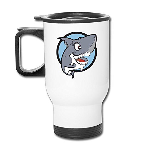 TRAVE Cartoon Smiling Shark Clipart White Coffee Or Tea Cup Travel Mug