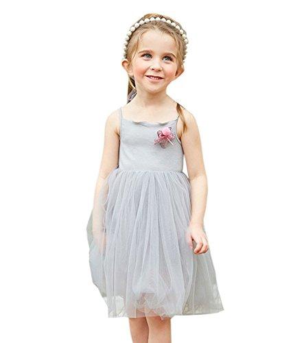 Princesse En Filé Mode Acvip Eté Fille De Gris Coton Et Robe wXfxqROI