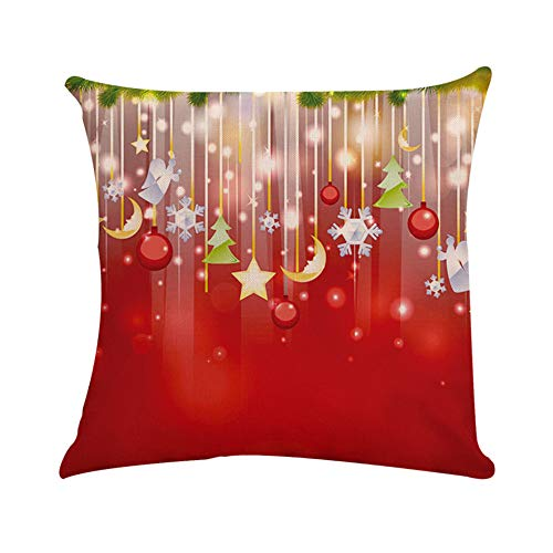 (Fulijie Christmas Throw Pillow Covers, Cotton Linen Snowflake Print Red Cushion Case Home Decor Sofa Car 18 x 18 Inch)