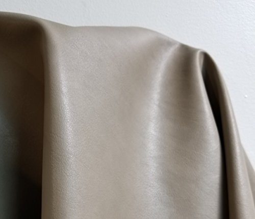 Gray Soft Faux Vegan PU Leather by the yard Synthetic Pleather 0.9 mm Nappa yards ( 36 inch wide x 52 inch) Soft smooth vinyl Upholstery (Light Gray, 1 yard - Leather Woven Fabric