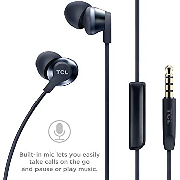 TCL Elit100 in-Ear Earbuds Hi-Res Wired Noise Isolating Headphones with Built-in Mic Cement Gray
