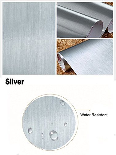 Peel and Stick Brushed Stainless Steel Contact Paper Self Adhesive Vinyl Film Shelf Liner for Covering Backsplash Oven Dishwasher Pantry Appliances (24 x 117