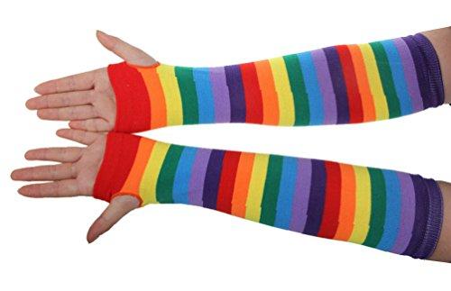 EachWell Women Girls Winter Rainbow Fingerless Mittens Gloves Arm Warmers