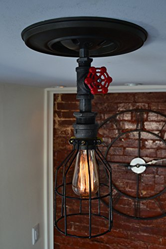West Ninth Vintage Iron Single Ceiling Farmhouse Light (Red Handle &Cage) 4