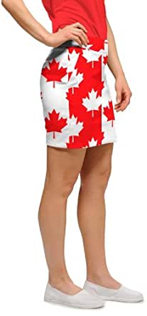 Loudmouth Golf Womens Skorts: Canada Maple Leaf - Size 0