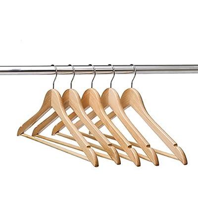 Ezihom Gugertree Solid Wooden Suit Hangers, Coat Hangers, Wood Clothes Hanger, Natural Finished, 10 Pack
