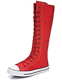 Women's Lace Up Tall Punk Dancing Canvas Boots