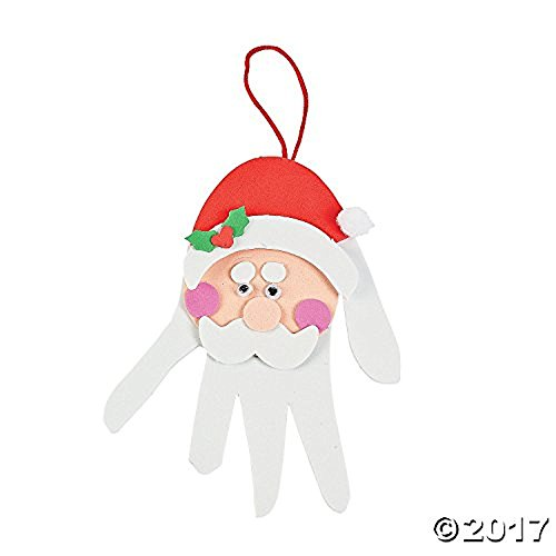 Foam Handprint Santa Christmas Ornament Decoration Craft Kit-makes 12