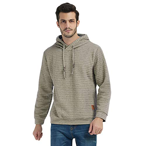 Haseil Men's Longsleeve Pullover Hoodie Winter Warm Athletic Hooded Sweatshirts,Apricot,Tagsize4XL=USsizeXL