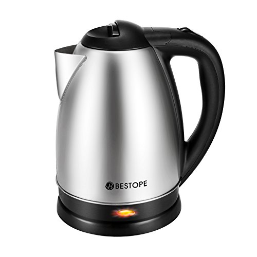 BESTOPE Electric Kettle Cordless Tea Boiler with 2.0 L High Capacity, 1000W of Power and Fast Heat Up,Automatically Shut Off-- Overheating Protection with Brushed Nickel Stainless Steel Finish