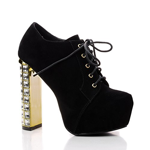 Sully's Phoenix01 Black Pu Women Lace Up Jeweled Encrusted Heel Platform Bootie-8 ()