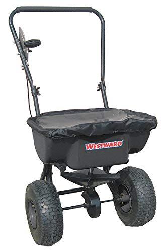 Westward 10F633 Broadcast Spreader, 60 Lbs Cap, Push Type