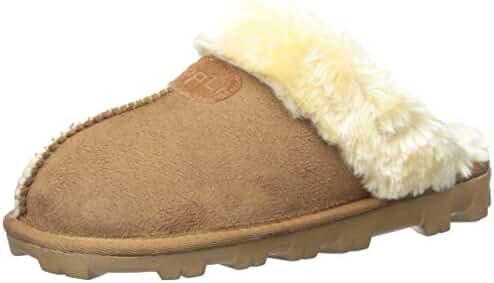 Clpp'li Women Slippers On Faux Fur Mules Fluffy Suede Comfy Slippers