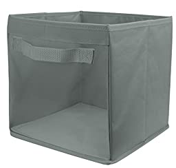 EasyView Storage Cube with Handles | 100% Woven Oxford Nylon Bin with Mesh See Thru Side | 10.5 x 10.5 x 10 Inches, Foldable, (Grey)