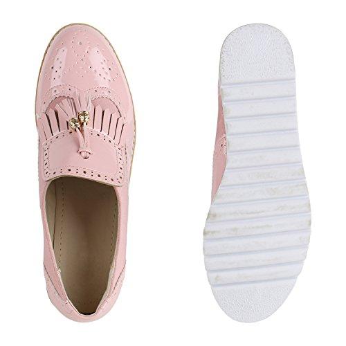 ... Stiefelparadies Damen Halbschuhe Plateauschuhe Loafer Wedges Keilabsatz  Schuhe Lack Brogues Profilsohle Fransen Quasten Slipper Leder- e9d445d45e