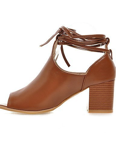 ShangYi Womens Shoes Leatherette Chunky Heel Heels / Peep Toe Sandals Casual Black / Brown Brown