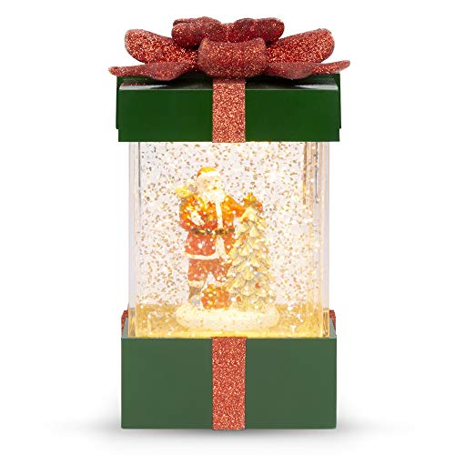 Best Choice Products Musical Christmas Pre-Lit Water Glitter Gift Box Snow Globe Holiday Decor w/Santa Claus, Christmas Tree, Battery Operated
