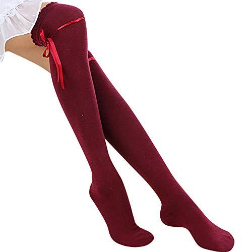 Women New Over Knee Cotton Stocking Long Knittd Boot Hosiery Thigh High Socks Hanican, Wine red