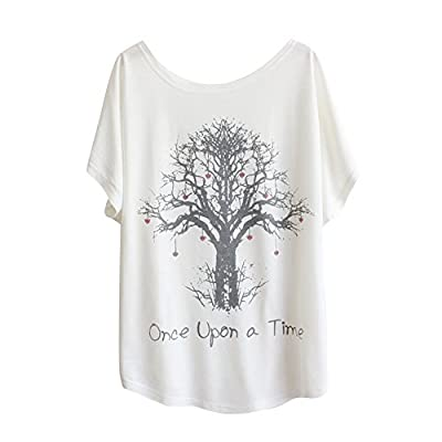 Haogo Women's Wishing Tree Print Short Sleeve T-shirt Tops