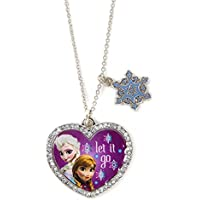 New Disney Frozen Elsa and Anna Heart Shaped Let It Go Pendant Necklace Sparkly NWT