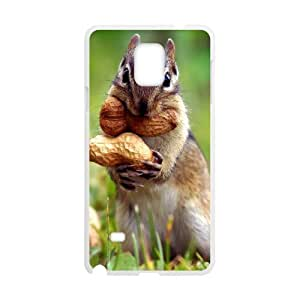 {Funny Series} Samsung Galaxy Note 4 Case Squirrel Cut the Nut, Luxury Brand Case Okaycosama - White