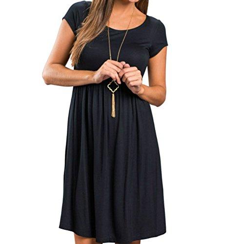 PALINDA Women's Short Sleeve Empire Waist Casual Swing T Shirt Dress (Black,S)