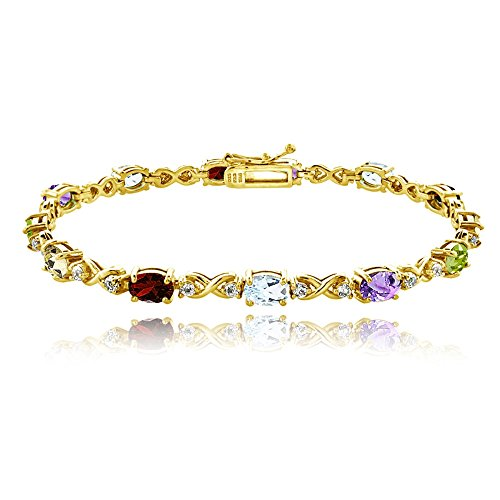 GemStar USA Yellow Gold Flashed Sterling Silver Multi Color 6x4mm Oval Infinity Bracelet with White Topaz Accents