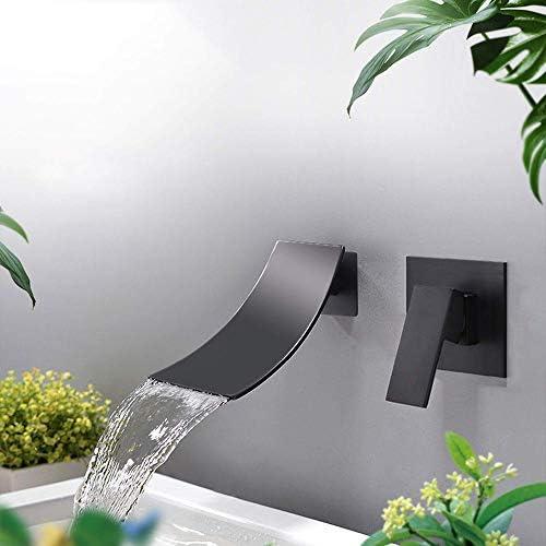 現代の豪華なバスルームのシンクの蛇口、バスルームの滝の蛇口ワイド滝スパウト、シングルハンドル単穴冷温水ミキサー,A