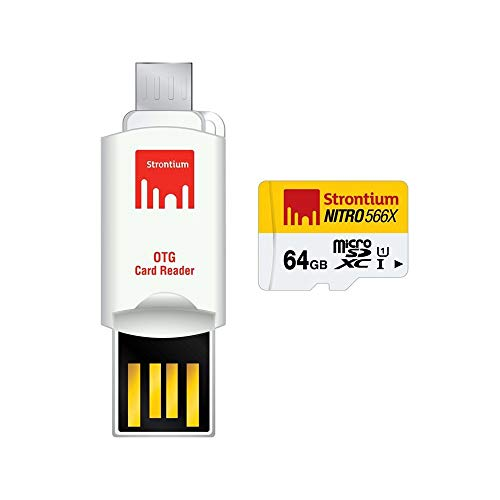 Strontium 64  GB Nitro 566X microSDXC UHS 1 Memory Card  Class10  with OTG Card Reader