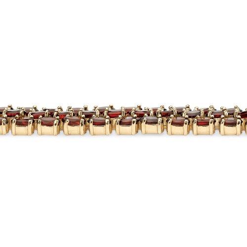 Angelina D'Andrea - Bracelet tennis 3 rangs - plaqué or 14 ct (585) - grenat ovale - 18,4 cm
