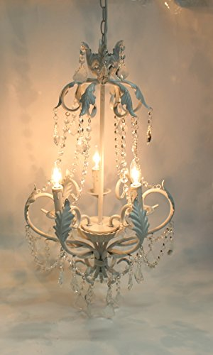 Tally Collection Antique White Wrought Iron Glass Crystal Chandelier Lighting