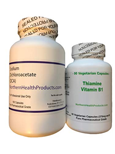 60 Day Sodium Dichloroacetate and Thiamine B1 Capsules. North American Made in a Certified Laboratory. Vegetarian Capsules - Absolutely NO Animal by-Products or Fillers. Highest Quality Available