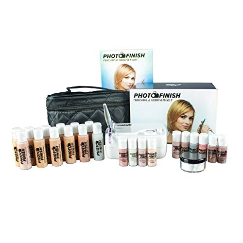 Airbrush Cosmetic Makeup Deluxe System Set Photo Finish Professional Master Kit/Fair to Tan Shades (luminous)
