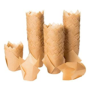 Tulip Cupcake Liners - 300-Pack Medium Baking Cups, Muffin Wrappers, Perfect for Birthday Parties, Weddings, Baby Showers, Bakeries, Catering, Restaurants, Kraft Brown
