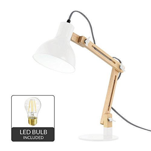 - Light Society Galvan LED Task Table Lamp, Natural Wood with White Shade and Base, Modern Industrial Pixar-Style (LS-T229-WHI)