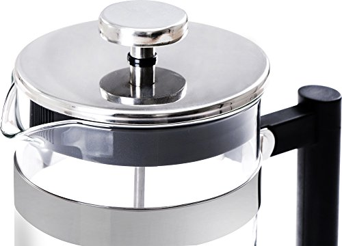 French Coffee Press (Chrome) - 34 oz Espresso and Tea Maker with Triple Filters, Stainless Steel Plunger and Heat Resistant Glass by Utopia Kitchen (Image #3)