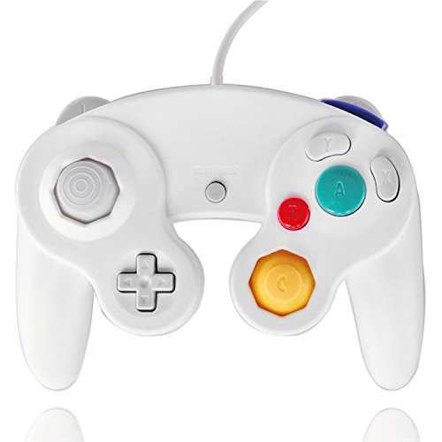 TNP GameCube Controller Nintendo GC and Wii Compatible GameCube Video Game Console Remote Classic Wired Gaming Joystick Gamepad Joypad NGC Replacement Accessories (White)