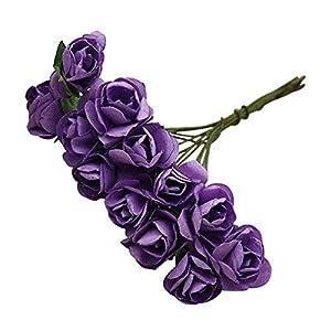 MARJON Flowers144pcs Mini Paper Rose Handmade Artificial Flower Fake Flower Compatible for Wedding Decoration Red Purple 70